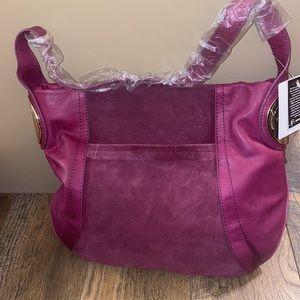 B Makowsky Suede and Leather Handbag